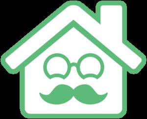 BedsteService logo - hus med overskæg i hvid